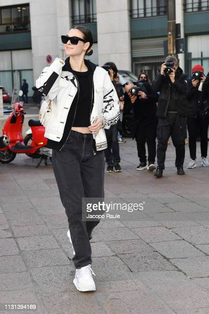 Vittoria Ceretti attends the Versace show at Milan Fashion Week Autumn/Winter 2019/20 on February 22 2019 in Milan Italy