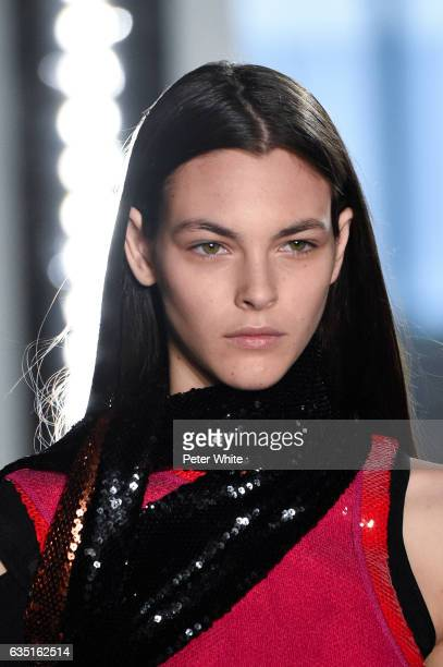 Vittoria Ceretti beauty detail walks the runway at Proenza Schouler show during New York Fashion Week on February 13 2017 in New York City
