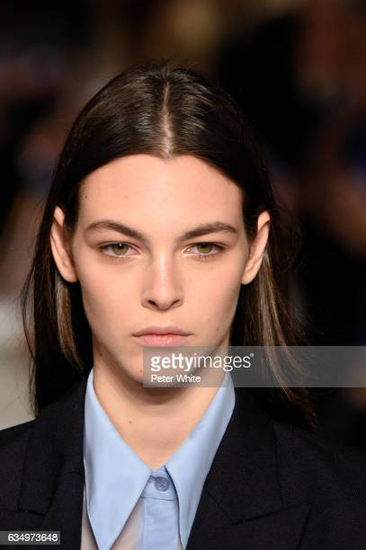 Vittoria Ceretti beauty detail walks the runway at Victoria Beckham show during New York Fashion Week on February 12 2017 in New York City