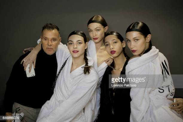 Vittoria Ceretti Gigi Hadid model and Bella Hadid are seen backstage before the HM Studio show as part of the Paris Fashion Week on March 1 2017 in...