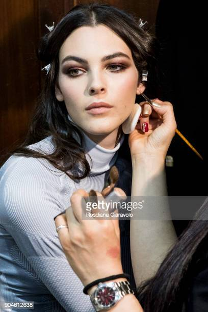 Vittoria Ceretti is seen ahead of the Versace show during Milan Men's Fashion Week Fall/Winter 2018/19 on January 13 2018 in Milan Italy