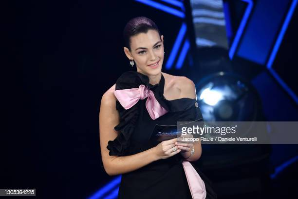 Vittoria Ceretti is seen on stage during the 71th Sanremo Music Festival 2021 at Teatro Ariston on March 04, 2021 in Sanremo, Italy.