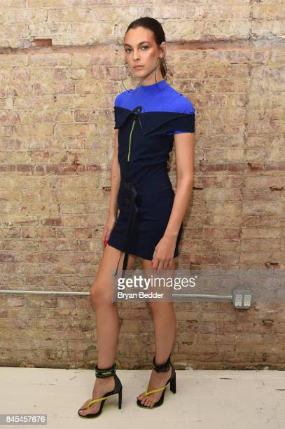 Vittoria Ceretti poses backstage at the FENTY PUMA by Rihanna Spring/Summer 2018 Collection at Park Avenue Armory on September 10 2017 in New York...