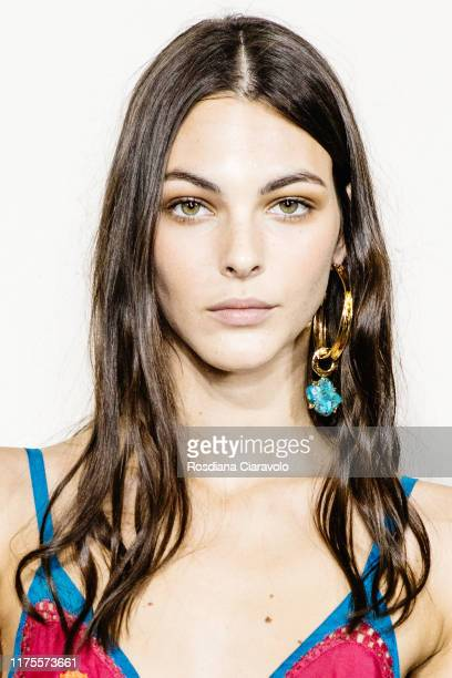 Vittoria Ceretti poses during backstage for Alberta Ferretti fashion show during the Milan Fashion Week Spring/Summer 2020 on September 18 2019 in...