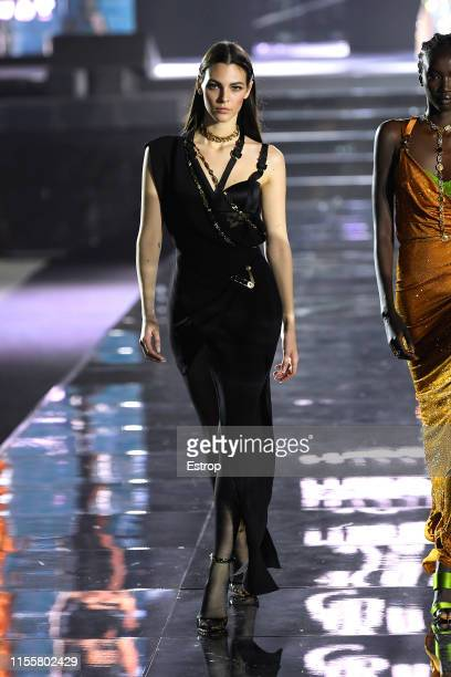 Vittoria Ceretti walks the CR Runway x LuisaViaRoma at Piazzale Michelangelo during the Pitti Immagine Uomo 96 on June 13 2019 in Florence Italy