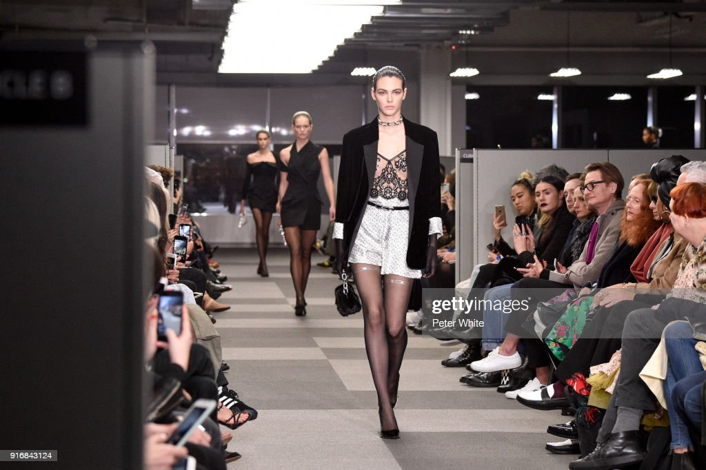 Vittoria Ceretti walks the runway at Alexander Wang Fashion Show during New York Fashion Week at 4 Times Square on February 10, 2018 in New York City.