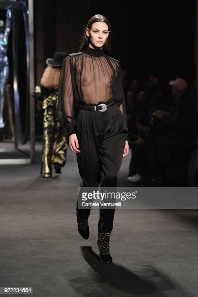 Vittoria Ceretti walks the runway at the Alberta Ferretti show during Milan Fashion Week Fall/Winter 2018/19 on February 21 2018 in Milan Italy