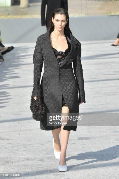 Vittoria Ceretti walks the runway at the Bottega Veneta show at Milan Fashion Week Autumn/Winter 2019/20 on February 22 2019 in Milan Italy