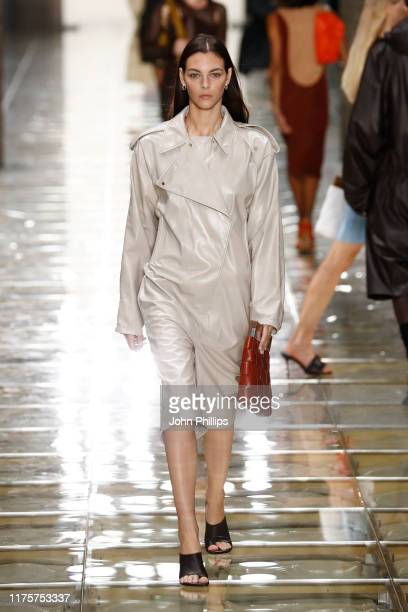 Vittoria Ceretti walks the runway at the Bottega Veneta show during the Milan Fashion Week Spring/Summer 2020 on September 19, 2019 in Milan, Italy.