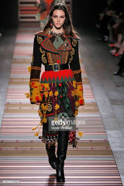 Vittoria Ceretti walks the runway at the Etro Ready to Wear Fall/Winter 20182019 fashion show during Milan Fashion Week Fall/Winter 2018/19 on...
