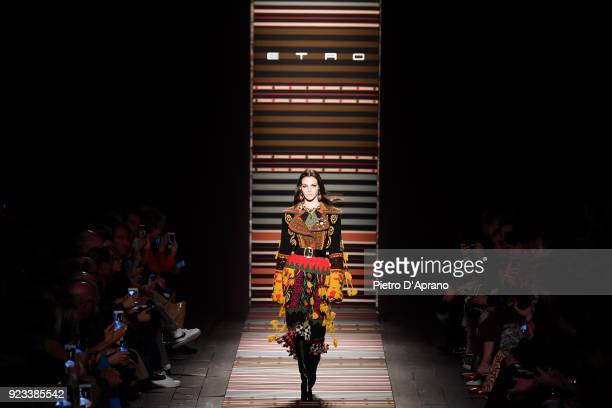Vittoria Ceretti walks the runway at the Etro show during Milan Fashion Week Fall/Winter 2018/19 on February 23 2018 in Milan Italy
