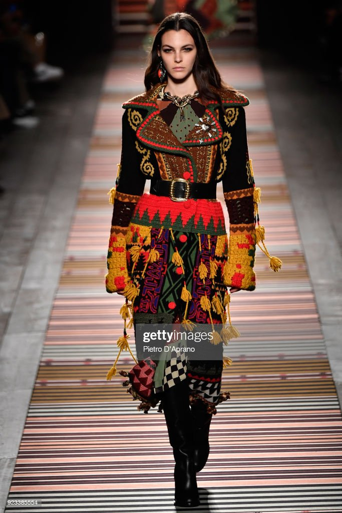Vittoria Ceretti walks the runway at the Etro show during Milan Fashion Week Fall/Winter 2018/19 on February 23, 2018 in Milan, Italy.