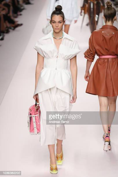 Vittoria Ceretti walks the runway at the Fendi show during Milan Fashion Week Spring/Summer 2019 on September 20 2018 in Milan Italy