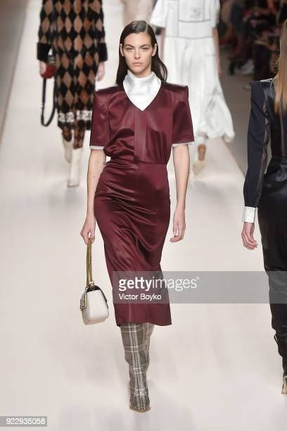 Vittoria Ceretti walks the runway at the Fendi show during Milan Fashion Week Fall/Winter 2018/19 on February 22 2018 in Milan Italy
