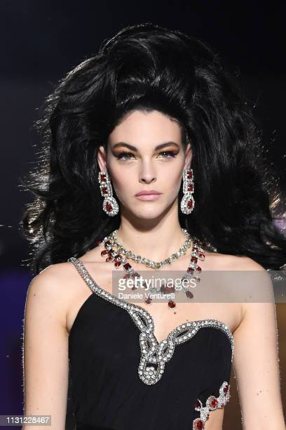 Vittoria Ceretti walks the runway at the Moschino show at Milan Fashion Week Autumn/Winter 2019/20 on February 21 2019 in Milan Italy