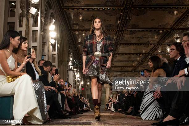 Vittoria Ceretti walks the runway at the Ralph Lauren fashion show during New York Fashion Week on September 7 2018 in New York City