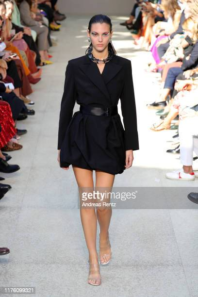 Vittoria Ceretti walks the runway at the Salvatore Ferragamo show during the Milan Fashion Week Spring/Summer 2020 on September 21 2019 in Milan Italy