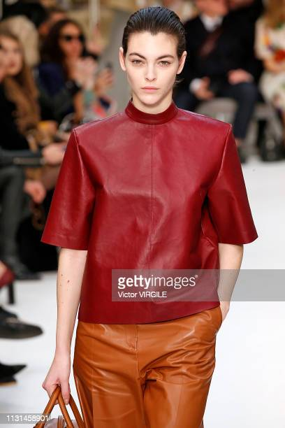 Vittoria Ceretti walks the runway at the Tod's Ready to Wear Fall/Winter 2019-2020 fashion show at Milan Fashion Week Autumn/Winter 2019/20 on...