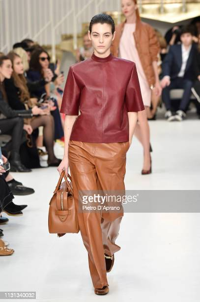 Vittoria Ceretti walks the runway at the Tod's show at Milan Fashion Week Autumn/Winter 2019/20 on February 22 2019 in Milan Italy