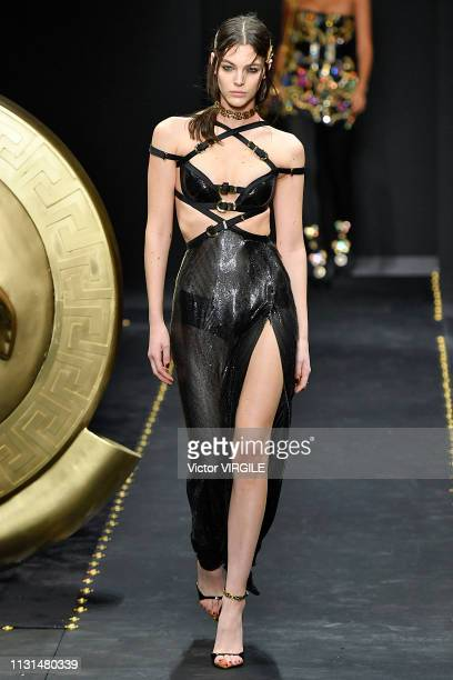 Vittoria Ceretti walks the runway at the Versace Ready to Wear Fall/Winter 20192020 fashion show at Milan Fashion Week Autumn/Winter 2019/20 on...