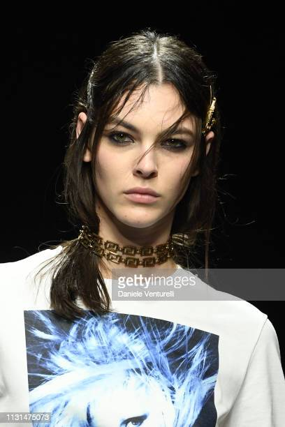 Vittoria Ceretti walks the runway at the Versace show at Milan Fashion Week Autumn/Winter 2019/20 on February 22 2019 in Milan Italy