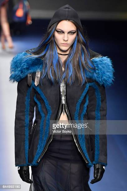 Vittoria Ceretti walks the runway at the Versace show during Milan Fashion Week Fall/Winter 2017/18 on February 24 2017 in Milan Italy