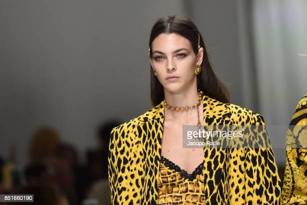 Vittoria Ceretti walks the runway at the Versace show during Milan Fashion Week Spring/Summer 2018 on September 22 2017 in Milan Italy