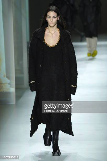 Vittoria Ceretti walks the runway during the Bottega Veneta fashion show as part of Milan Fashion Week Fall/Winter 20202021 on February 22 2020 in...