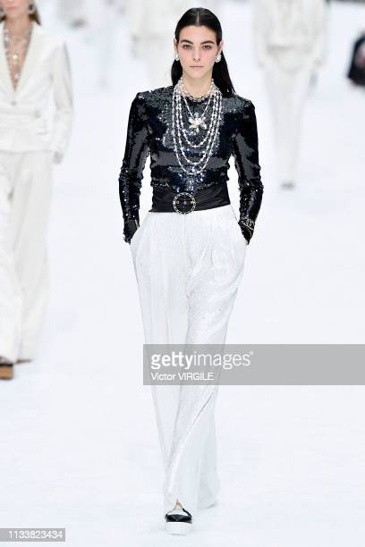 Vittoria Ceretti walks the runway during the Chanel Ready to Wear fashion show as part of the Paris Fashion Week Womenswear Fall/Winter 2019/2020 on...