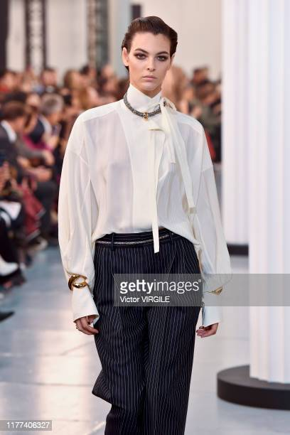 Vittoria Ceretti walks the runway during the Chloe Ready to Wear Spring/Summer 2020 fashion show as part of Paris Fashion Week on September 26, 2019...