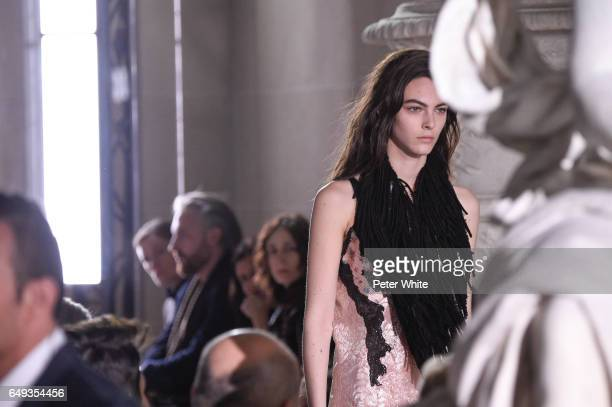 Vittoria Ceretti walks the runway during the Louis Vuitton show as part of the Paris Fashion Week Womenswear Fall/Winter 2017/2018 on March 7 2017 in...