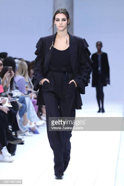 Vittoria Ceretti walks the runway during the Max Mara fashion show as part of Milan Fashion Week Fall/Winter 2020-2021 on February 20, 2020 in Milan,...