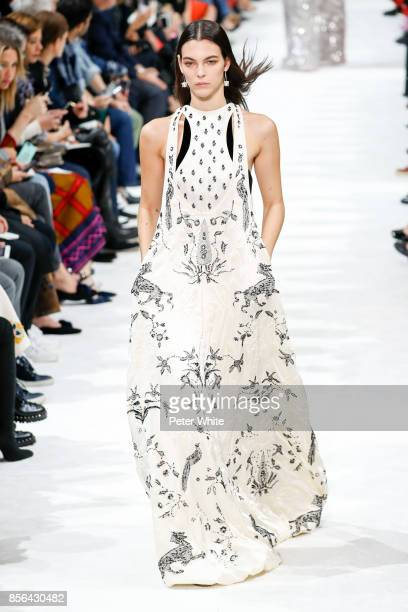 Vittoria Ceretti walks the runway during the Valentino show as part of the Paris Fashion Week Womenswear Spring/Summer 2018 on October 1 2017 in...