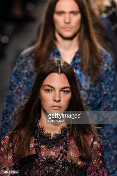 Vittoria Ceretti walks the runway for Anna Sui fashion show during New York Fashion Week The Shows at Gallery 1 Skylight Clarkson Sq September 11...