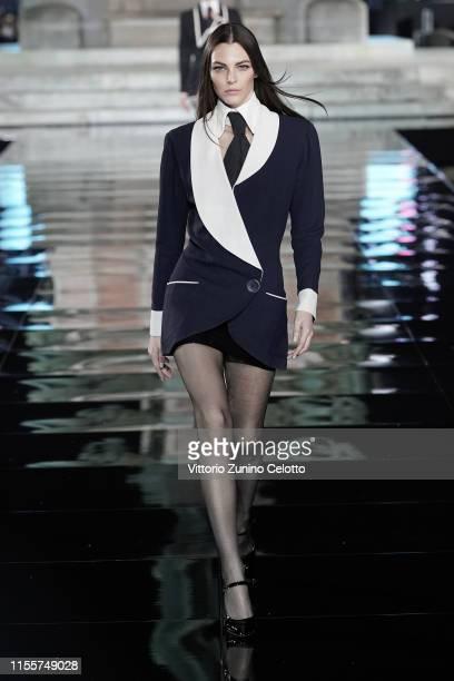 Vittoria Ceretti walks the runway, wearing Karl Lagerfeld, at the CR runway x LUISAVIAROMA 90th Anniversary Show during Pitti Immagine Uomo 96 on...