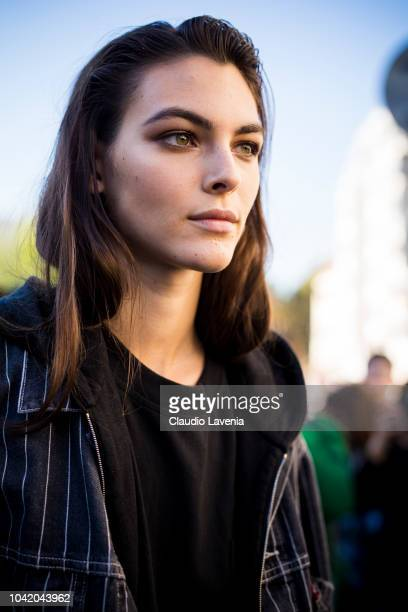 Vittoria Ceretti wearing a pinstripe jacket and a black hoody is seen after the Chloe show on September 27 2018 in Paris France