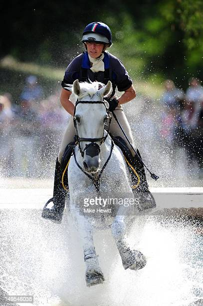 Vittoria Panizzon of Italy riding Borough Pennyz in a water jump in the Individual Eventing Cross Country Equestrian on Day 3 of the London 2012...