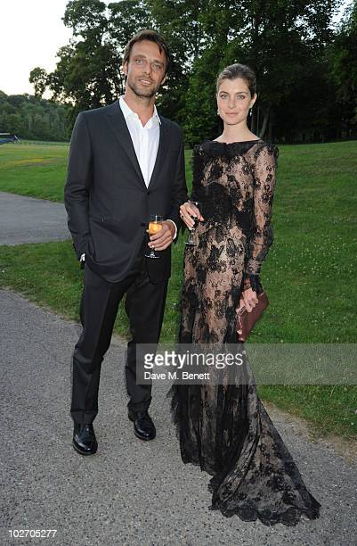 Vittoria Puccini and Alessandro Preziosi attend the Valentino Garavani Archives Dinner Party on July 7 2010 in Versailles France