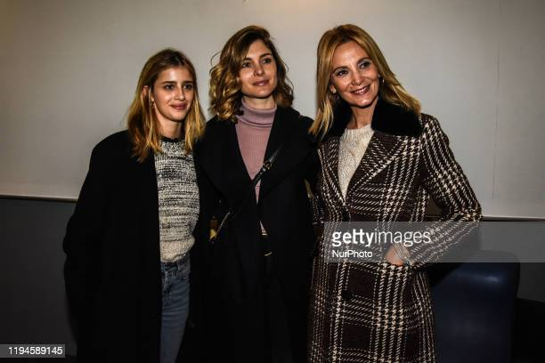 Vittoria Puccini and Benedetta Porcaroli Italian actresses of the film '18 Regali' attend to meet the people in a cinema in Palermo Italy on 18...