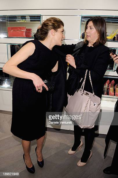 Vittoria Puccini and Eleonora Pratelli attend the Rodo Firenze flagship store opening as part of Milan Womenswear Fashion Week on February 22 2012 in...