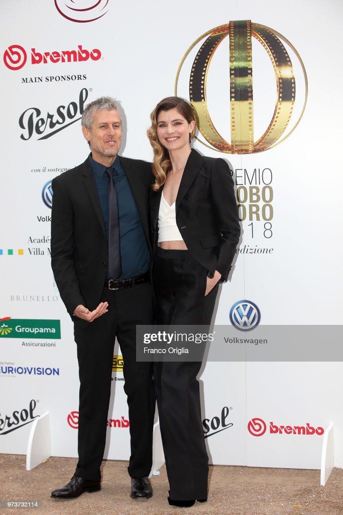 Vittoria Puccini and Fabrizio Lucci attend Globi D'Oro awards ceremony at the Academie de France Villa Medici on June 13, 2018 in Rome, Italy.
