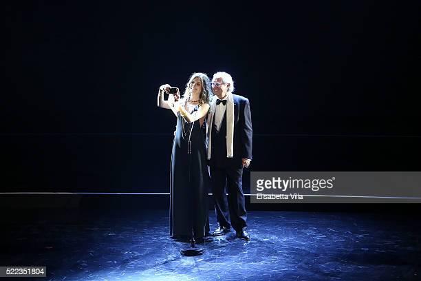 Vittoria Puccini and Vittorio Storaro attend the 60 David Di Donatello awards ceremony on April 18 2016 in Rome Italy
