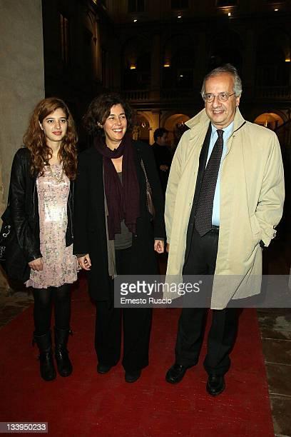 """Vittoria Veltroni, Flavia Prisco and Walter Veltroni attend the """"Eroine Di Stile"""" Opening Exhibitionon at Palazzo Altemps on November 22, 2011 in..."""