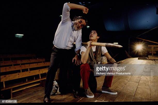 Vittorio and Alessandro Gassman rehearsing for 'Ulysses and the Whale'
