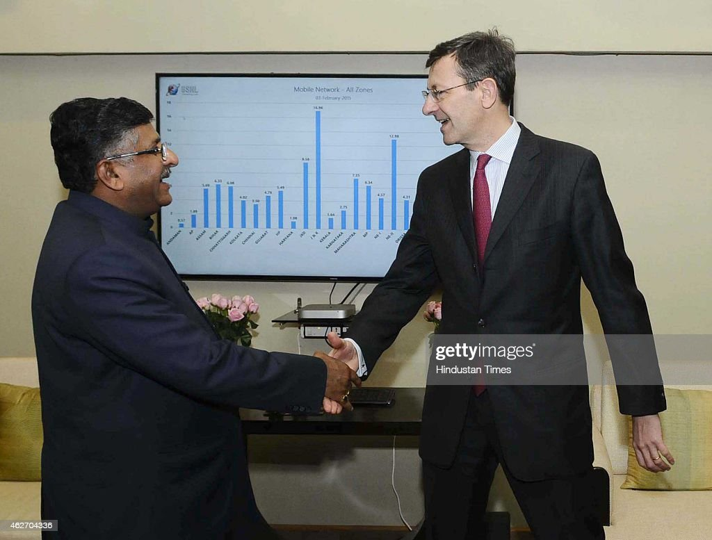Vodafone Group CEO Vittorio Colao Meets Indian Telecom Minister Ravi Shankar Prasad