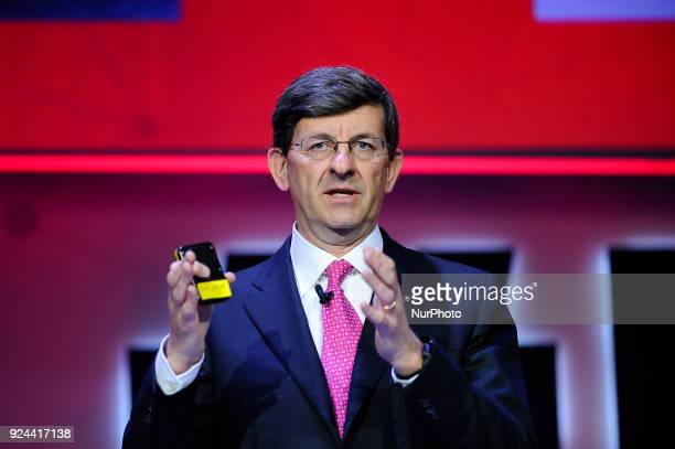 Vittorio Colao, Vodafone Group CEO, speaking during Creating a Better Service Provide conference, at the Mobile World Congress on February 26, 2018...