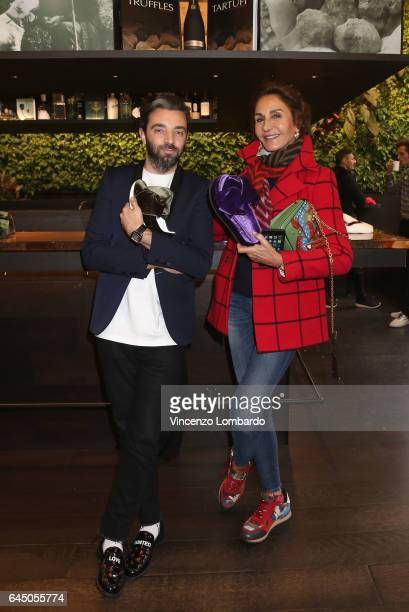 Vittorio Cordella and Nati Abascal attend the Joshua Sanders Press Presentation during Milan Fashion Week Fall/Winter 2017/18 on February 23 2017 in...