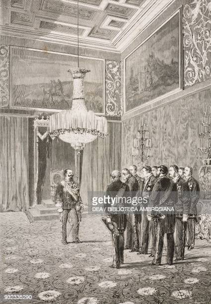 Vittorio Emanuele II receiving officials on 1 January in the throne room at the Quirinal Palace, Rome, Italy, drawing by Dante Paolocci , engraving...