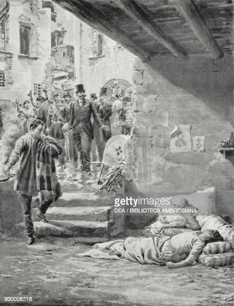 Vittorio Emanuele II visiting cholera patients in 1865 in Naples Italy drawing by Edoardo Matania from The Life and Kingdom of Vittorio Emanuele II...