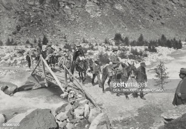 Vittorio Emanuele III hunting in Cogne Valle d'Aosta Italy from L'Illustrazione Italiana Year XL No 33 August 17 1913